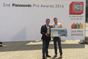 """<div class=""""bildtitel"""">Die Projektverantwortlichen von RGS Technischer Service GmbH aus Ingolstadt mit dem Panasonic PRO Award. links: Jörg Suardi (Niederlassungsleiter RGS Ingolstadt) und Christoph Maier (Geschäftsführer RGS)</div>"""
