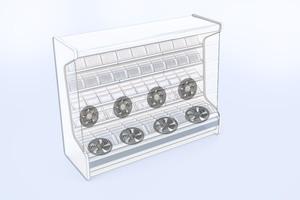 """<div class=""""bildtitel""""><irspacing style=""""letter-spacing: -0.01em;"""">Bild 3: Die Axial-Baureihe ist für den Einbau in Kühl- und Tiefkühlmöbeln unterhalb der Regale vorgesehen. Die Ventilatoren mit Diagonal-Lüfterrad wurden hingegen speziell für die Rückwand von Kühlregalen konzipiert. </irspacing></div>"""