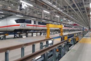"""<div class=""""bildtitel"""">In dem ICE-Instandhaltungswerk der Deutschen Bahn in Köln-Nippes können bis zu acht Fernverkehrszüge gleichzeitig gewartet und repariert werden. </div>"""