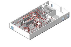 """<div class=""""bildtitel"""">Die Rohrleitungen des Kühlwasser-Heizsystems sind um die Hauptverteiler der Kühlung und Heizung besonders komplex angelegt. Schnell montierbare und einfach zu wartende Kupplungen sind hierbei ein entscheidender Faktor für die Kosteneffizienz der Installation.</div>"""