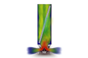 """<div class=""""bildtitel""""><irspacing style=""""letter-spacing: -0.01em;"""">Eine CRAC-Unit mit diagonalem Wärmeübertrager. Die blauen Bereiche stellen Luftströme mit wenig Geschwindigkeit, die roten mit hoher Geschwindigkeit dar. </irspacing></div>"""