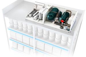 """<div class=""""bildtitel"""">Bild 1: Kälteerzeugungs-Kompakteinheit als Beispiel für einen On-top-Kühlmöbel-Aufbau, bestehend aus einem vollständigen Kältekreislauf mit allen erforderlichen Komponenten, wie z.B. schrittmotorgetriebenes elektronisches Expansionsventil, inverter-gesteuerter Kompressor mit DC-Motor, intelligenter Kühlstellen-Controller mit Anbindung über GLT an die """"Cloud"""" sowie wassergekühlter Kondensator. </div>"""