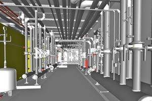 """<div class=""""bildtitel"""">Die Installationen der modernen Gebäudetechnik in einem der technischen Räume des Hilton Schiphol Hotels im BIM-Modell ...</div>"""