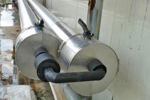 """<div class=""""bildtitel"""">Bild 5: Ende der insgesamt 240m Doppel-Edelstahl-Rohrleitung mit permanent arbeitenden Überströmventil in der Bypass-Leitung</div>"""