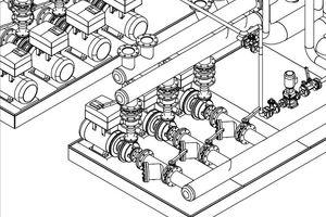 Schema der Kühlwasserpumpen mit Wasserfiltern, Absperrschiebern und Frequenzumrichtern