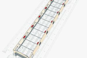 """<div class=""""bildtitel"""">Unterdeckengeräte montiert im historischen Güterboden mit einer Gebäudelänge von fast 100 m</div>"""