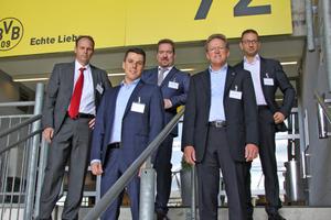 """<div class=""""bildtitel"""">Referenten des Fachforums Kältetechnik im Dortmunder Fußballstadion; v.l.n.r: Steffen Klein (Combitherm), Nico Timmermann (ebm-papst), Andreas Riesch (Bitzer), Heinz Jackmann (Güntner) und Khaled Gomaa (Chemours)</div>"""