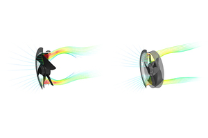 Dank der ins Laufrad eintauchenden Einströmungsdüse und der größeren Austrittsöffnung wird der Ventilator AxiEco Protect optimal durchströmt.<br />