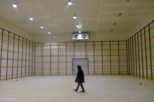 """<div class=""""bildtitel"""">Ein TK-Raum für 1.000 metrische Tonnen wird von zwei """"CUBIC Vario CPGHN""""-Verdampfern von Güntner gekühlt, die an beiden Enden des Raums einander gegenüber angebracht sind.</div>"""