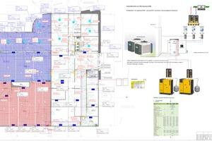 """<div class=""""bildtitel"""">Der detaillierte Plan zeigt unter anderem die Positionierung der Klimageräte im Neubau sowie im Bestandsgebäude.</div>"""
