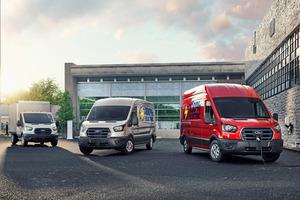 """<div class=""""bildtitel"""">Der Ford E-Transit: 198 kW starker Antrieb, Heckantrieb, drei Radstände, zwei Dachhöhen</div>"""