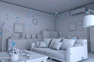"""<div class=""""bildtitel"""">Die Luftreinigung findet außerhalb des Klimageräts statt, indem Hydroxyl-Radikale aktiv in den Raum eingebracht werden. </div>"""
