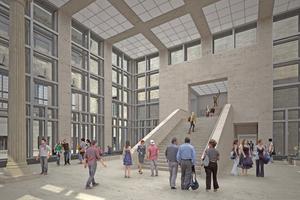 """<div class=""""bildtitel"""">Durch ein neues vorgelagertes Eingangsgebäude (Tempietto) erfolgt die Besucherlenkung sowie der bauliche Anschluss an die Archäologische Promenade. Im Tempietto kommen die Quell-Luftdurchlässe """"INDUQUELL DIV"""" von Kiefer Klimatechnik zum Einsatz.</div>"""