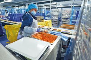 """<div class=""""bildtitel"""">Dreimal am Tag werden insgesamt ca 6.000 Essen zubereitet, auf Speisetabletts portioniert und gekühlt an Krankenhäuser, Pflegeheime und Arztpraxen ausgeliefert. </div>"""