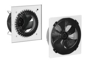 """<div class=""""bildtitel"""">Das """"FlowGrid"""" eignet sich für Radialventilatoren (links) und Axialventilatoren (rechts) und kann unliebsame Geräuscheffekte auch im bereits eingebauten Zustand mindern.</div>"""