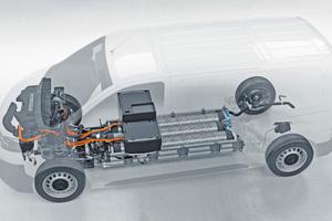 """<div class=""""bildtitel"""">Brennstoffzelle, Wasserstofftanks und Batterie sind so platzsparend untergebracht, dass der Transporter gegenüber herkömmlichen Antriebstechnologien keine Kompromisse beim Raumangebot macht. </div>"""