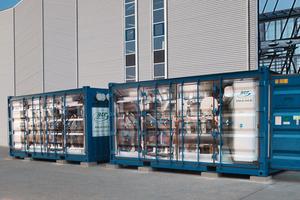 Zwei Tiefkältezentralen in Containerbauform mit 650 kW Kälteleistung bei -24 °C Soletemperatur in der Pharmaindustrie<br />