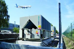"""<div class=""""bildtitel"""">Auf dem Fraport-Gelände kamen zwei Mietkaltwassersätze (einer davon im Bild) mit einer Kälteleistung von insgesamt 1,1 MW zum Einsatz.</div>"""