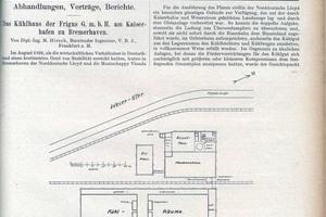 """<div class=""""bildtitel"""">Artikel über das Bremerhavener Kühlhaus in der Zeitschrift des Deutschen Kälte-Vereins von 1923, Seite 1</div>"""