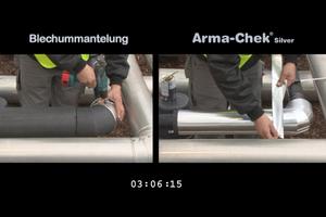 """<div class=""""bildtitel"""">Dass sich flexible Ummantelungen wesentlich schneller als traditionelle Blechummantelungen verarbeiten lassen, zeigt auch das Video auf <a href=""""http://www.armacell.de/ArmaChekSilver"""" target=""""_blank"""">www.armacell.de/ArmaChekSilver</a> </div>"""
