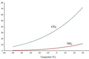 """<div class=""""bildtitel"""">Abbildung 2: Verhältnis zwischen Druck und Siedepunkt für CO<sub>2</sub> und NH<sub>3</sub></div>"""