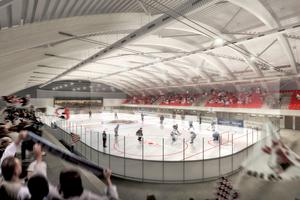 """<div class=""""bildtitel"""">Ein indirektes System mit Ammoniak kühlt die Eislaufbahnen und die Curlinghalle mit einer Kälteleistung von ca. 1,2 MW. </div>"""