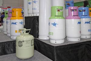 """<div class=""""bildtitel"""">Einwegflaschen für Kältemittel (unten im Bild) sind Standard in Thailand. Ein erster Anbieter stellte auf der Messe Recyclinglösungen vor.</div>"""