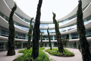Innenhof des neuen Verwaltungsbaus in Nyon. Mit einer Fläche von 6000 m<sup>2</sup> auf vier Stockwerken bietet es Platz für 250 Angestellte<br />
