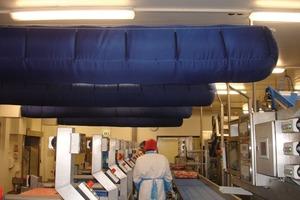 Textile Luftkanäle für Produktionsbereich in Frischfleisch verarbeitender Industrie<br />