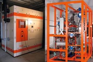 """Bild 3: Ansicht der Ammoniak-Wasser-Absorptionskälteanlage Typ """"congelo 50"""" der Fa. AGO AG links mit und rechts ohne Einhausung<br />"""