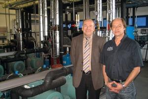 Johann Baumer von der Südbayerischen Fleischwaren GmbH (l.) und Rudolf Einöder freuen sich über den erfolgreichen Einsatz natürlicher Kältemittel.<br />