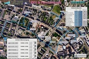 Bild 1: Visualisierung des Fernkältenetzes der Stadtwerke Chemnitz AG auf der Leitebene (Quelle Hintergrundbild: [8])<br />