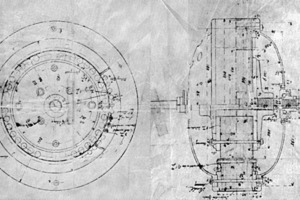 """<div class=""""99 Bildunterschrift"""">1897 bringt Emil Ziehl die erste Konstruktionszeichnung eines Außenläufermotors zu Papier</div>"""