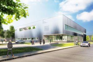 """<div class=""""bildtitel"""">Computeranimation der im Bau befindlichen Schaufler Academy - dem neuen Schulungszentrum von Bitzer in Rottenburg</div>"""