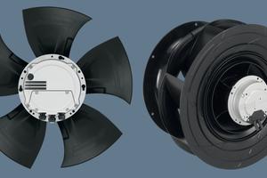 """<div class=""""bildtext"""">Axialventilator """"HyBlade<sup>®""""</sup> (links) und Radialventilator """"RadiCal<sup>®""""</sup> (rechts) in EC-Technologie für den Einsatz in Wärmepumpen</div>"""